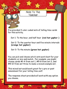 Telling Time Task Cards - Differentiated