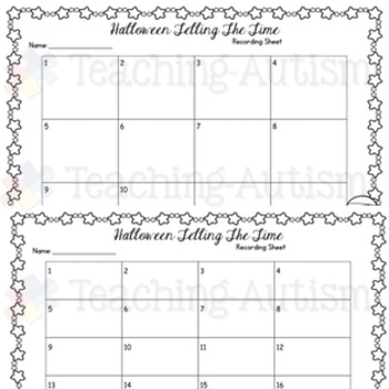 Telling Time Task Cards Halloween
