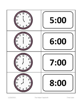 Telling Time Task Cards - Hour