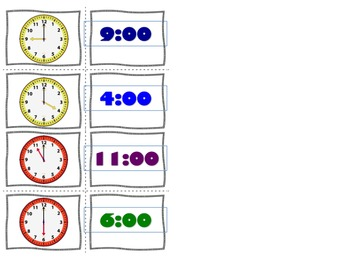 Telling Time Task Cards-Matching Game
