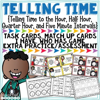 Telling Time Task Cards and Extra Practice with Clock Bulletin Board and Posters