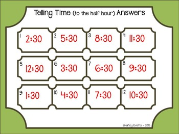 Telling Time Task Cards (half-hour)