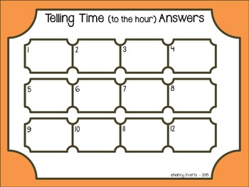 Telling Time Task Cards (hour)