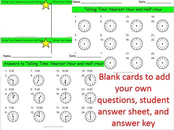 Telling Time Task Cards (hour and half hour) 1.MD.B.3