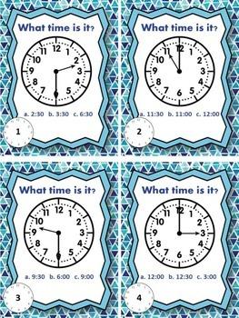 Time Task Cards- Hour & Half Hour