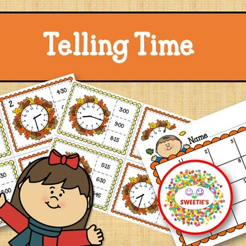 Telling Time Task Clip Cards - Autumn - To the Quarter Hour