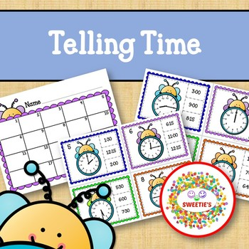 Telling Time Task Clip Cards - Bees - To the Quarter Hour