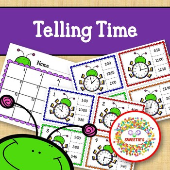 Telling Time Task Clip Cards - Bugs - To the Quarter Hour