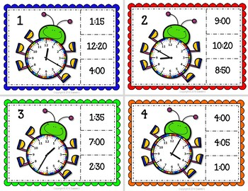 Telling Time Task Clip Cards - Bugs - 5 Minute Increments