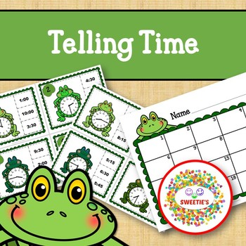 Telling Time Task Clip Cards - Frogs - To the Quarter Hour