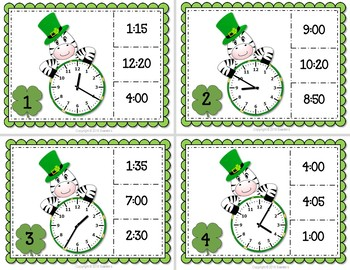 Telling Time Task Clip Cards - St Patrick Zebra - 5 Minute Increments