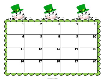 Telling Time Task Clip Cards - St Patrick's Day Zebra - To the Quarter Hour