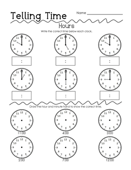 telling time test by perfectly primary printables tpt. Black Bedroom Furniture Sets. Home Design Ideas