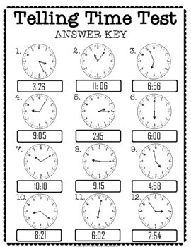 Telling Time Test: 2-Page Quiz (Telling Time to the Nearest Minute)