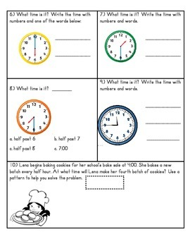 Telling Time Test- 2nd Grade Common Core Aligned