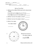 Telling Time Test (Elapsed Time included)