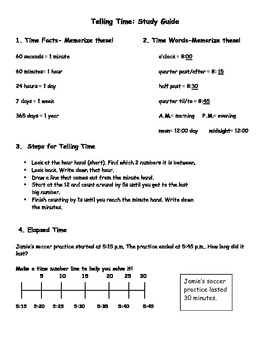 Elapsed Time: Test, Study Guide, & Homework