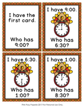 Telling Time Thanksgiving Turkeys I Have Who Has? Game
