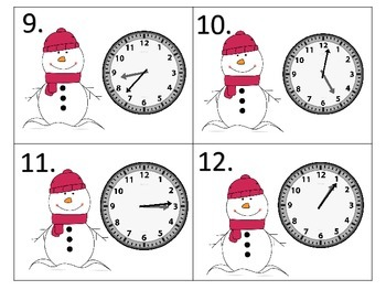Telling Time Through the Year---1 Minute Intervals--12 sets of Task Cards