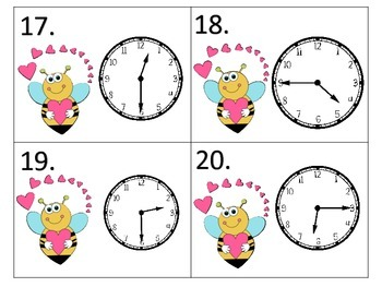 Telling Time Through the Year---12 sets of task cards---15 minute intervals