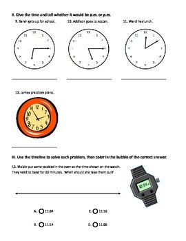 Telling Time & Time Intervals Test