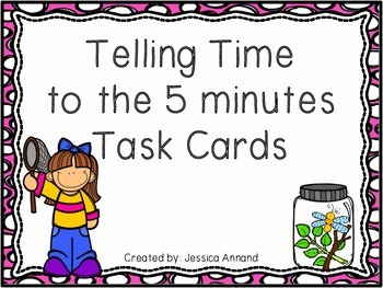 Telling Time To The Five 5 Minutes Task Cards / SCOOT and Worksheet