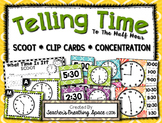 Telling Time SCOOT, Concentration & Clip Cards --- Time to the Hour / Half Hour