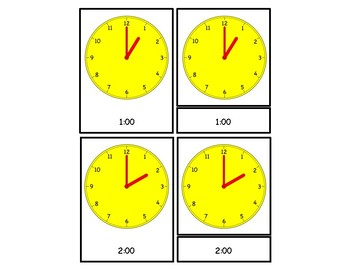 Telling Time - To The Hour 3 Part Cards