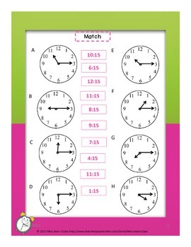 Telling Time To The Nearest Quarter Hour - Student Practice Book C