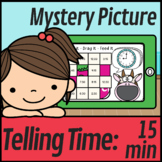 Telling Time To The Quarter Hour Mystery Picture | Converting Time | Boom Cards