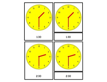 Telling Time - To the Hour and Half Hour 3 Part Cards