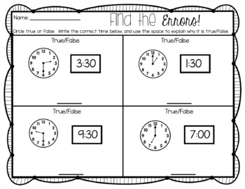 Telling Time: To the Hour and Half Hour-Errors and Reasoning-FREE