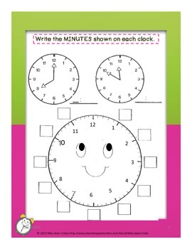 Telling Time To the Nearest 5 Min. - Student Practice Book E