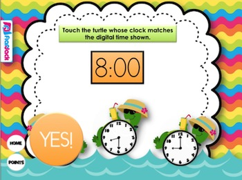 Telling Time Tropical Turtles Smart Board Game