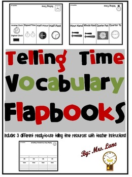 Telling Time Vocabulary Flapbooks