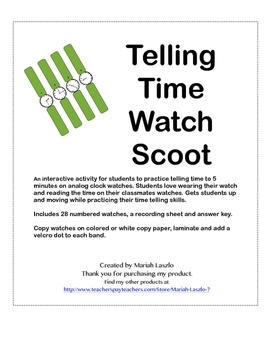 Telling Time Watch Scoot