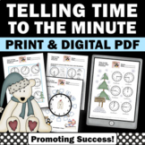 No Prep Telling Time Worksheets, Penguins and Polar Bears Theme