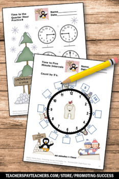 2nd Grade Telling Time Worksheets to Nearest Minute, Penguins and Polar Bears