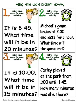 Telling Time Word Problem Activity