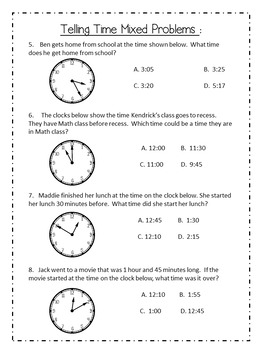 Telling Time and Elapsed Time Word Problems
