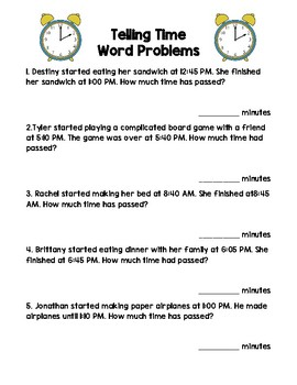telling time word problems by mrs 2nd teachers pay teachers. Black Bedroom Furniture Sets. Home Design Ideas