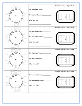 Telling Time Work Station response sheet Free analog digital Graphic Organizer