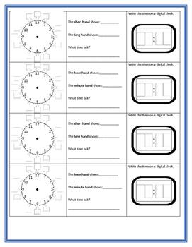 Telling Time Work Station response sheet Free analog digit