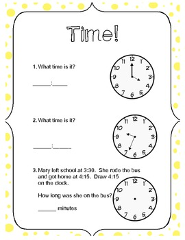 Telling Time Worksheet - 6 problems