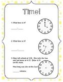 Telling Time Worksheet - 6 problems