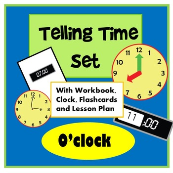 Telling Time Worksheet, Clock and Flashcard BUNDLE - With Lesson Plan, Low Prep