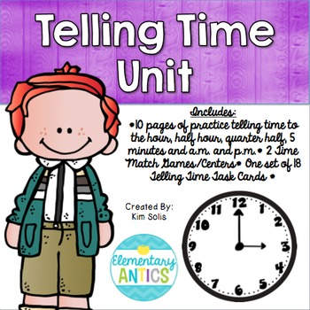 Telling Time Pack {Worksheets, Game & Task Cards}