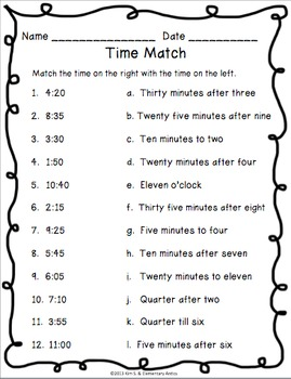 telling time pack worksheets game task cards by kim solis tpt. Black Bedroom Furniture Sets. Home Design Ideas