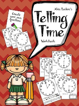 Telling Time Worksheets EDITABLE