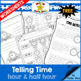 Telling Time Worksheets - Hour & Half Hour SAMPLE